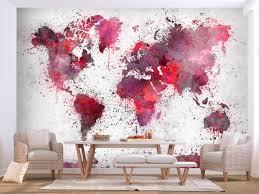 wallpaper world map red watercolors