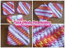 Double Thick Crochet Potholder Pattern Impressive Crocheted Pot Holders Thick Crochet Mesh Brick Stitch Stitch