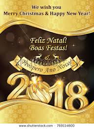 flyer translated in portuguese christmas new year greeting card message stock illustration
