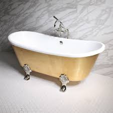 ramesses73 73 coreacryl white acrylic french bateau clawfoot tub with umber wash egyptian gold leaf exterior