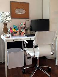 Office:Cute Girly Pink Colored Work Desk Design With White Top To Inspire  You Simple
