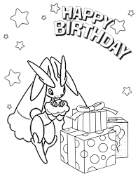 Small Picture Girl Pokemon Wishes You Happy Birthday Coloring Page H M
