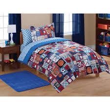 full boys sports bedding set flat fitted sheet comforter pillowcase sham
