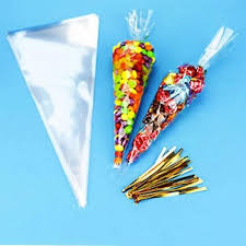 100pcs party cone clear cello bags sweet candy ties large size kids birthday gift pocket party