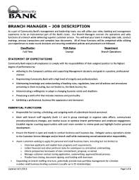 Bank Manager Job Description Bank Branch Manager Job Description Fill Online Printable