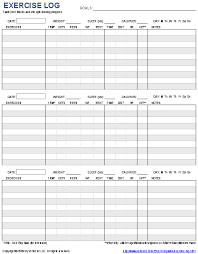 Blank Workout Logs Free Printable Exercise Log And Blank Exercise Log Template