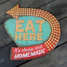 Retro Kitchen Wall Decor Eat Here It039s Cheap And Homemade Kitchen Wall Sign Retro