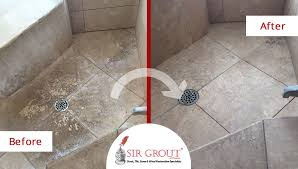 this shower s travertine floor was completely renovated after a tile cleaning service in scottsdale