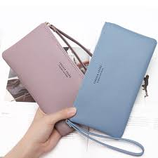women fashion leather wrist strap wallet portable multifunction long change purse hot female phone coin zipper clutch for girls in wallets from luggage