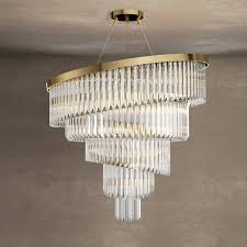 gold plated spiral crystal designer chandelier