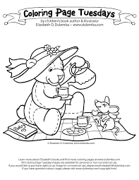 coloring page tuesday teddy tea party