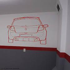 renault clio iii rs sport wall art vinyl garage sticker workshop decal 16v on garage wall art uk with renault clio iii rs sport wall art vinyl garage sticker workshop