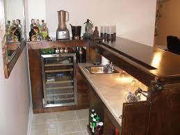 interior: Simple Home Bar Design With Warm Interior Nuance Completed With  Top Dark Wooden Table