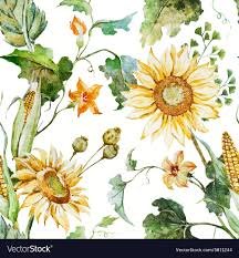 Sunflower Pattern Impressive Watercolor Sunflower Pattern Royalty Free Vector Image