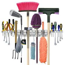 anybest utility mop broom holder this is an organizer that you hang a whole variety of things on the hangars have 6 positions with 6 hooks and 2 tool