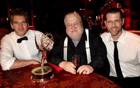 game of thrones creators david benioff and d b weiss with george r r martin