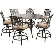 traditions 7 piece aluminum outdoor high dining set with swivel chairs with natural oat cushions