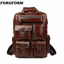 multifunctional oil genuine leather backpack men backpack fashion male school backpack travel bag large leather rucksack li 1321