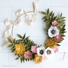 Diy Paper Flower Wreath How To Make A Gorgeous Paper Flower Wreath For Fall Lia Griffith