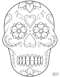 Small Picture Sugar Skull with flowers and hearts coloring page Free Printable