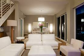 gorgeous living room contemporary lighting. A Long Room With Floor-to-ceiling Windows Divided Into Two Sections. Half Gorgeous Living Contemporary Lighting T