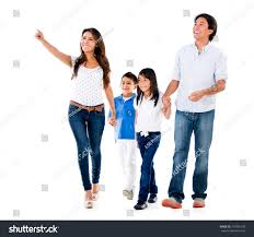 family walking white background 6