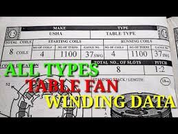 all types table fan winding data