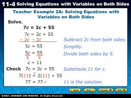 teacher example 2a solving equations with variables on both sides