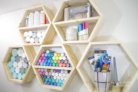 diy hexagon shelf for craft storage finished photo 1