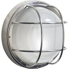 salcombe flush fitting stainless steel garden wall light round