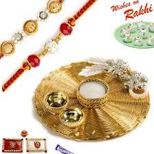 Rakhi Thali Design Handcrafted Metallic Mesh Design Rakhi Thali Hamper With Set Of 2 Rakhis