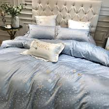 details about star embroidered luxury egyptian cotton duvet quilt cover bedding set blue sheet