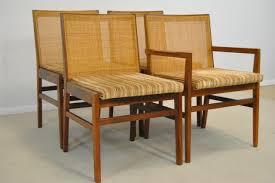 Teak Dining Room Chairs Set Of Four 4 Danish Modern Teak Dining Room Chairs W Cane Back
