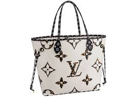 Louis Vuitton Neverfull Size Chart Louis Vuitton Neverfull Monogram Giant Jungle Without Pouch Mm Ivory Havana Beige