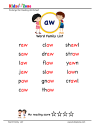These free phonics worksheets explore the different ways that letters may sound. Explore And Learn Words From Aw Word Family With Word List Worksheet