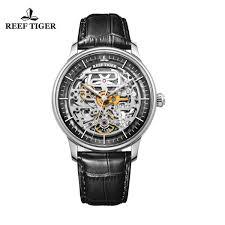 <b>Reef Tiger</b>/<b>Rt Designer</b> Skeleton Mens Watch Leather Strap ...
