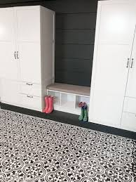 a diy stenciled concrete basement floor painted with the augusta tile stencil from cutting edge stencils