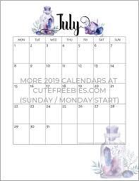 Free Printable 2019 2020 Calendar Crystal Gems Monthly