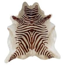 lahti zebra cowhide beige area rug