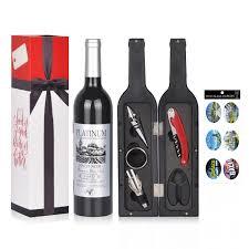 Wine Accessories Gift Set - 5 Pcs Deluxe Wine Corkscrew Opener Sets Bottle  Shape in Elegant