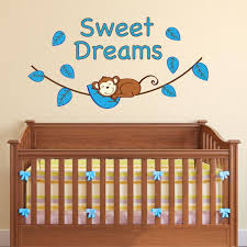 boy sweet dreams monkey wall decal