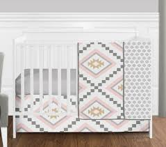 blush pink and grey boho and tribal aztec baby girl crib bedding set without per by sweet jojo designs only 139 99