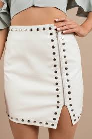 gena ivory croc embossed faux leather studded skirt