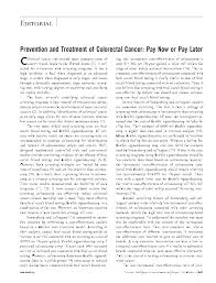 prevention and treatment of colorectal cancer pay now or pay prevention and treatment of colorectal cancer pay now or pay later of internal medicine american college of physicians