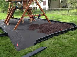 ... Ideas Of Weed Barrier Borders and Mulch Under A Playset About Backyard  Playground Ideas ...