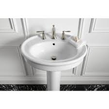 willamette pedestal combo bathroom sink in white by kohler sinks plus double handle faucet for bathroom