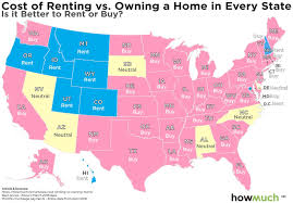 2018 Cost Of Living Chart The Costs Of Renting Vs Buying A Home In Each State Mapped