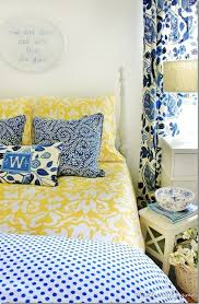 Blue and Yellow Farmhouse Bedroom
