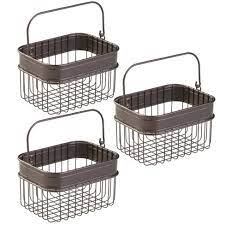 Mdesign Bathroom Storage Basket Bin With Handle Small 3 Pack Bronze Target