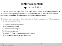 Junior Accountant Experience Let Experience Certificate Format For